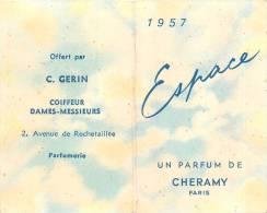 """Carte Calendrier Parfumée -  """"Espace"""" De Cheramy - 1957  - (5,2 X 8,5 Cm)  Illustrée Décorée -TTB (voir 2 Scans) - Perfume Cards"""