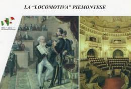 "[DC1461] CARTOLINEA - 150° ANNO UNITA´ D´ITALIA - LA ""LOCOMOTIVA"" PIEMONTESE -PARLAMENTO SUBALPINO VITTORIO EMANUELE(37) - Storia"