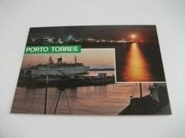 Barca Nave Ship Traghetto Porto Torres Tramonto Notturno Doppia Veduta Faro - Fähren