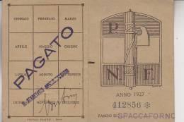 Tessera Fascista PNF  1927 Sez. Spaccaforno Fascio - Documenti Storici