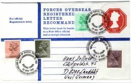 Great Britain 1982, Uprated Registered Cover To Germany, Elizabeth II - British Forces - Rideau Canal - 1952-.... (Elizabeth II)