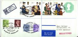 Great Britain 1980 - 1982, Uprated Registered Letter / Cover To Germany, Youth Organizations - Elizabeth II - 1952-.... (Elizabeth II)