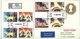 Great Britain 1981, Uprated Registered Letter / Cover To Germany, Disabled - Gutter Pair - British Library - 1952-.... (Elizabeth II)
