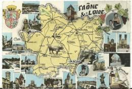 Saône Et Loire : Carte  Géographique :vcharolles,chalon,autun, Louhans,macon,tournus, Etc... - France