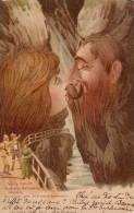 ART NOUVEAU : KILLINGER - SURRÉALISME -> VISAGES De MONTAGNES : TAMINA SCHLUCHT - C.P. LITHOGRAPHIÉE ~ 1899 (n-944) - Fancy Cards