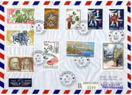 Monaco 1986, Registered Letter / Cover Sent To Germany - Postmarks
