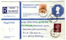 Great Britain 1986, Uprated Registered Letter / Cover, Durham To Germany, Elizabeth II - Royal Mail - 1952-.... (Elizabeth II)