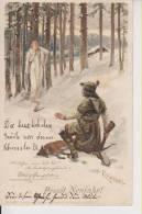 Prosit Neujahr  Jäger Hunter Engel Angel Hund Dog F. Döcker Gemalt 7.1.1901 Nach Burghausen - Nouvel An