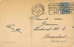 3285. Postal BRUXELLES (Belgica) 1922, Foire Commercielle - Bélgica