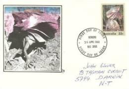 AUSTRALIE.  Lézard à Collerette , Entier Postal Adressé Au N-T (Territoire Du Nord)  1980 - Reptiles & Batraciens
