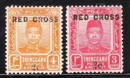 Malaya Trengganu 1917 Surcharged O/p Red Cross 2v Mint - Trengganu
