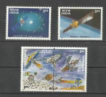 INDIA, 2000, India´s Space Programme, With Two Setenant Stamps, Set 4 V,  MNH, (**) - India