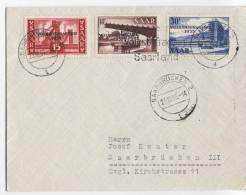 SARRE Enveloppe    Yvert N° 344/46  Plébiscite 1955 Avec Flamma Aujourd'hui Plébicite En Sarre - Sarre
