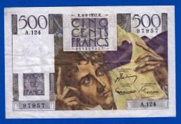 BILLET 500 BANQUE DE FRANCE CINQ CENTS FRANCS CHATEAUBRIAND 3 SIGNATURES N°97957 A.124 DU 4-9-1952 TYPE 1945 - FAY.34/10 - 1871-1952 Circulated During XXth