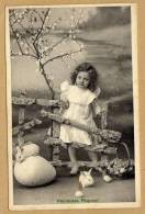 Heureuses Pâques Enfants Lapin Oeuf Carte Circulée En 1910 - Pasqua