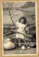 Heureuses Pâques Enfants Lapin Oeuf Carte Circulée En 1910 - Ostern