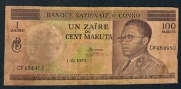CONGO  P12b   1 ZAIRE Ou 100 MAKUTA   1.10.1970      FINE - Congo