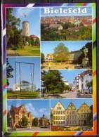 Bielefeld , Mehrbildkarte , Sparrenburg - Übersichtr - Stadthalle - Altstädter Kirchplatz - Bunnemannplatz - Rathaus - - Bielefeld