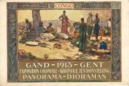 Gand 1913. Exposition Coloniale. Carte Dorée. Bords Légèrement Abimés - Gent