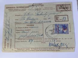 Dominican Republic, 1935  Postal Stationery Envelope + Stamp VALORES DECLARADOS, RR Used (cover, Republica Dominicana) - Dominicaanse Republiek
