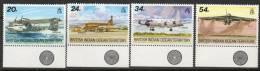 British Indian Ocean Territory 1992 - Visiting Aircraft - Bottom Marginal Colour Control SG124-127 MNH Cat £8.75+ SG2015 - Territoire Britannique De L'Océan Indien