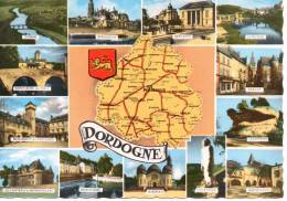 CP - DORDOGNE - CARTE - MULTIVUES - ARTAUD - DOMME - PERIGUEUX - BERGERAC - LE BUGUE - SARLAT - LES EYZIES - MONPAZIER - - France