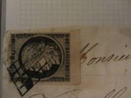 France - 1849 Extrait D Une Etude Sur Le Ceres Y&T 1 - Fragment Obl. Large Bord De Feuille BDF Mens 4 Fev 1850 - 1849-1850 Cérès