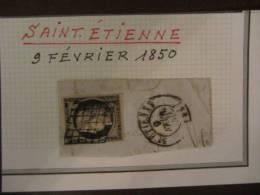 France - 1849 Extrait D Une Etude Sur Le Ceres Y&T 1 - Fragment Obl. Superbe St Etienn 9 Fev 1850 - 1849-1850 Ceres