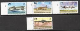 British Indian Ocean Territory 1992 - Visiting Aircraft - Left Side Marginals Plate 1B/1D SG124-127 MNH Cat £8.75+SG2015 - Territoire Britannique De L'Océan Indien