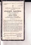 BERTOGNE BASTOGNE Crime Joseph LECLERE époux PONCIN Conseiller Communal Assassiné 1856-1925 Souvenir Mortuaire - Devotion Images