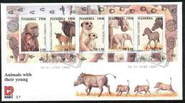 070415 Namibia 1998 South West Africa Animals & Young ELEPHANT WARTHOG M-s FDC  - SWA Namibie - Namibia (1990- ...)