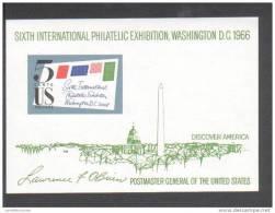 BLOC DE L'EXPOSITION WASHINGTON 1966 - SIXTH INTERNATIONAL PHILATELIC EXHIBITION, WASHINGTON DC 1966 - ** MNH - Unused Stamps