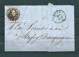 Nr 10 Gestempeld P83 Op Brief Van Mons Naar Bracquegnies  05/02/1861 (GA9079) - 1858-1862 Médaillons (9/12)