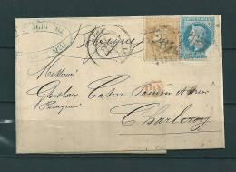 Nr 28A+29A Op Brief Naar Charleroi (Belgique) PD 01/04/1869 (GA9213) - 1863-1870 Napoléon III. Laure