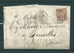 Nr 69 Op Brief Van Hirson Naar Bruxelles (Belgique) 17/02/1878 (GA9227) - 1876-1878 Sage (Typ I)