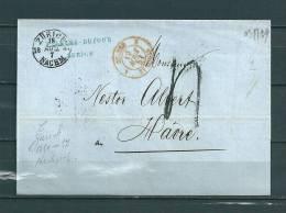 Brief Van Zurich  Naar Le Havre (France) 18/08/1857  (GA9498) - Suisse