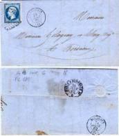 CHABANAIS (Charente) Belle Lettre Avec PC 689 Sur Yvert 14 B  (56061) - Marcophilie (Lettres)