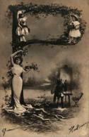 Alphabet Lettre P - Femme Robe Longue Et Enfants, Peintre Sepia (noir - Femmes