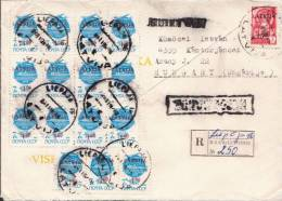 Latvia Multifranking Cover, 16 Stamps - Lettonia