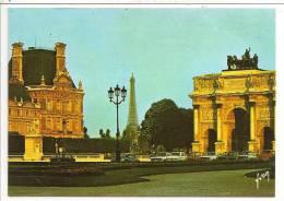 75 - PARIS - Le Palais Du Louvre, La Tour Eiffel Et L'Arc De Triomphe Du Carrousel - Editions Yvon N° 36 75 0219 - Tour Eiffel