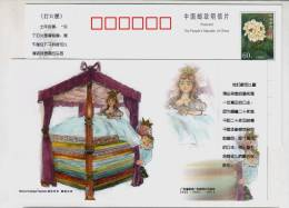 The Princess And The Pea,China 2005 Birth Bicentenary Of Denmark Fairy Tales Master H. C. Andersen Pre-stamped Card - Fairy Tales, Popular Stories & Legends
