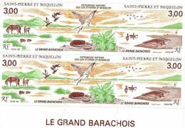 SPM N° 485 A Le Grand Barachois -triptyque Avec Vignette Centrale NEUF** X2 Daté 25.11.87 - Blocks & Sheetlets