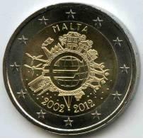 Malte Malta 2 Euro 2012 10 Ans De L´euro UNC - Malte