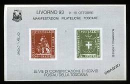 ERINNOFILI -  VIE DI COMUNICAZIONE E SERVIZI POSTALI TOSCANA - LIVORNO - 1993 -  FOGLIETTO  - E/E - Erinnofilia