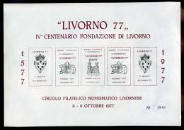 ERINNOFILI - 1977 - 4° CENTENARIO FONDAZIONE DI LIVORNO -  FOGLIETTO NON DENTELLATO  - E/E - Erinnofilia
