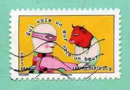 FRANCE 2013 - Y&T N° A 7.. : PROVERBE + QUI VOLE UN OEUF VOLE UN BOEUF +++ JAUNE - Used Stamps