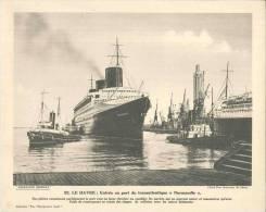 """Pour L'enseignement Vivant - N° 22 - Le Havre : Entrée Au Port Du Transatlantique """"Normandie"""" - Old Paper"""