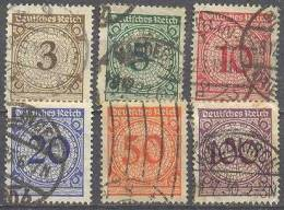 1923 Freimarken Ziffern Im Kreis (Rosetten) Mi 338-43  / Sc 323-8 / YT 331-6 Gestempelt / Oblitéré / Used - Deutschland