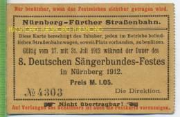 Nürnberg-Fürther Straßenbahn. 8. Deutschen Sängerbundes-Festes In Nürnberg 1912 Karte Mittig Mit Knick, Guter Zustand - Transporttickets