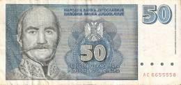 BILLETE DE YUGOSLAVIA DE 50 DINARA DEL AÑO 1996  (BANKNOTE) - Yougoslavie